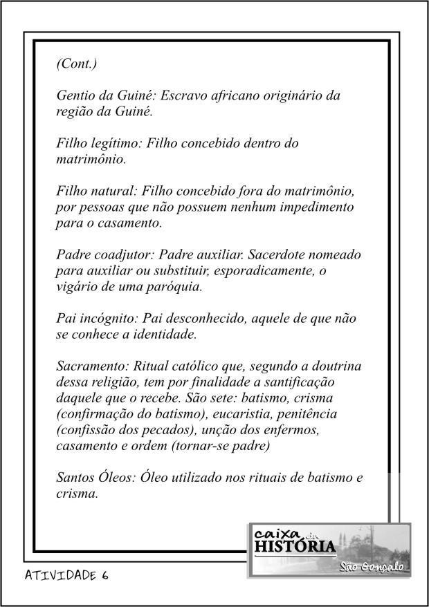 GLOSSÁRIO BATISMO (CONTINUAÇÃO)
