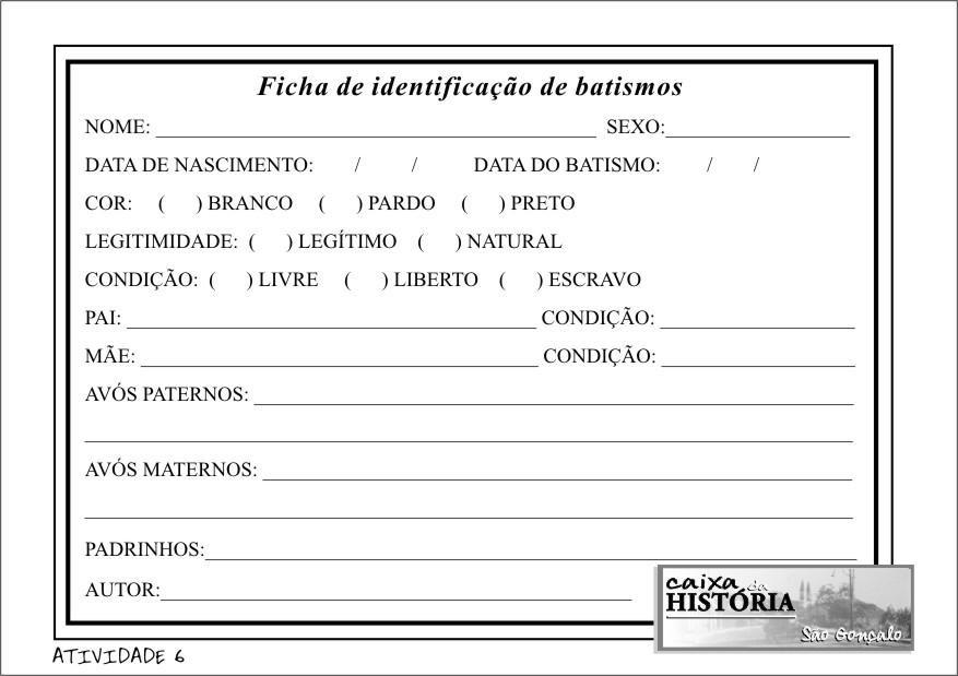 FICHA DE IDENTIFICAÇÃO DE BATISMOS