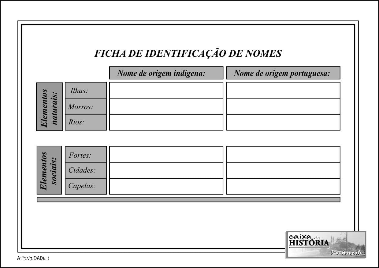 FICHA DE IDENTIFICAÇÃO DE NOMES