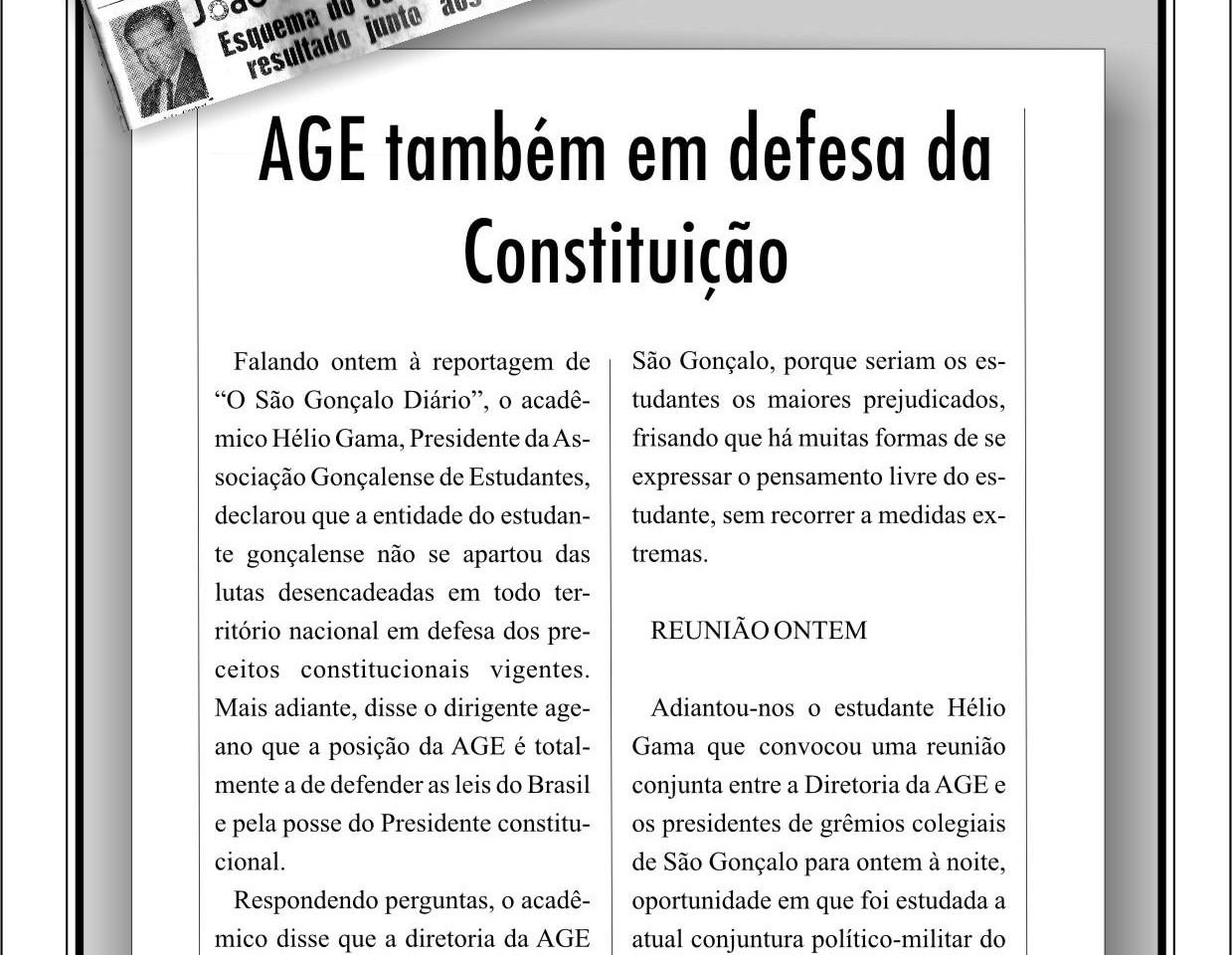 AGE também em defesa da Constituição