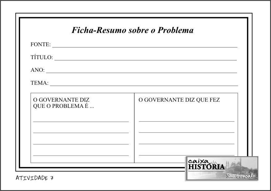 Ficha-Resumo sobre o Problema