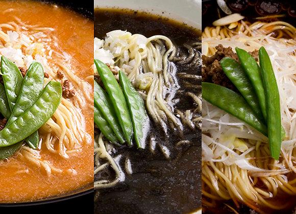 【福龍】担々麺、⿊胡⿇担々麺、葱スーラー麺セット