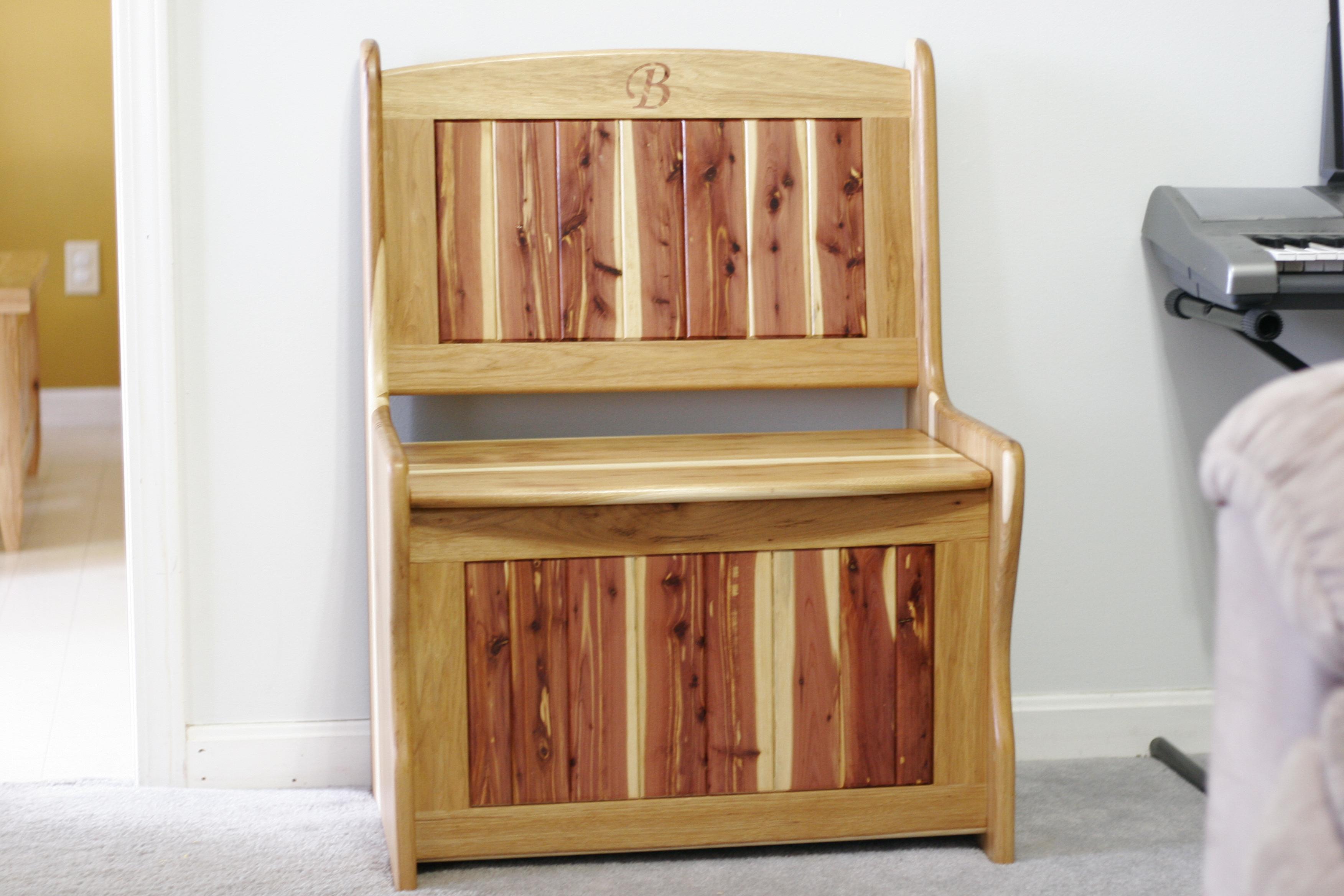 Hickory and Cedar storage bench