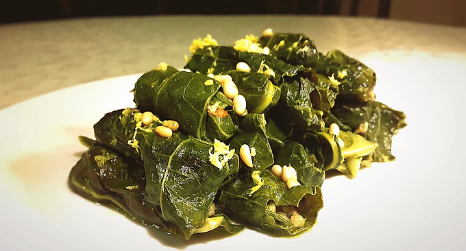 Fadi Kattan's Cauliflower Leaves Stuffed with Freekeh