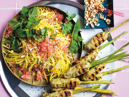 Lemon grass fish pops with green mango salad- In Praise of Veg by Alice Zaslavsky (p. 110) Makes 12