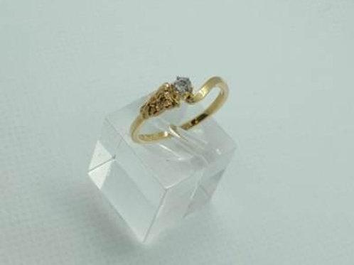 BAGUE or jaune 750 PIERRE diamant 0.10c