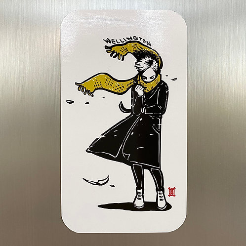 Windy Welly Girl  (Yellow Scarf) Magnet Card