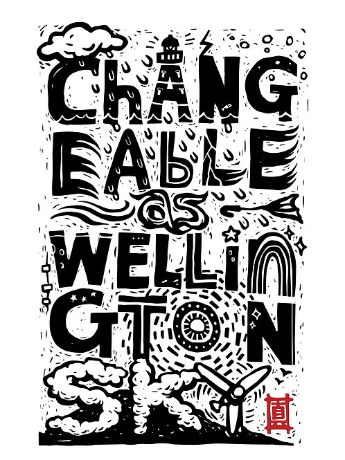 """A4 Print """"Changeable as Wellington Sky (Lettering)"""""""