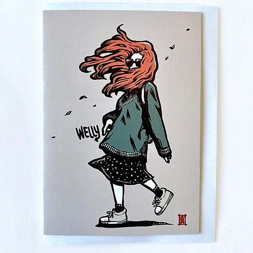 """Greeting Card """"Windy Welly Girl (Autumn)"""""""