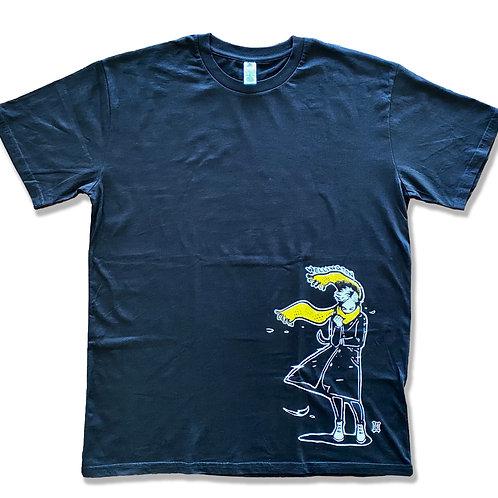 "Men's ""Windy Welly Girl - Yellow Scarf"" T-shirt (Black)"