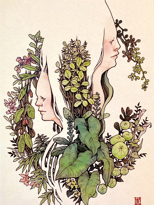 "A6 Postcard ""Girls in the Garden"""