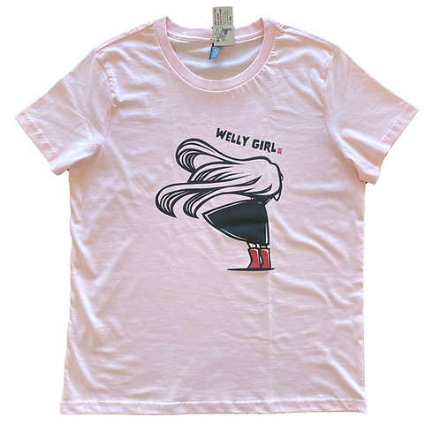 """Women's """"Windy Welly Girl - Red Boots"""" T-shirt (Pink)"""