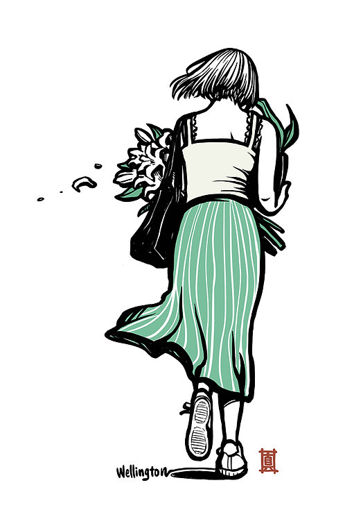 """A5 Print """"Windy Welly Girl - Lily"""""""