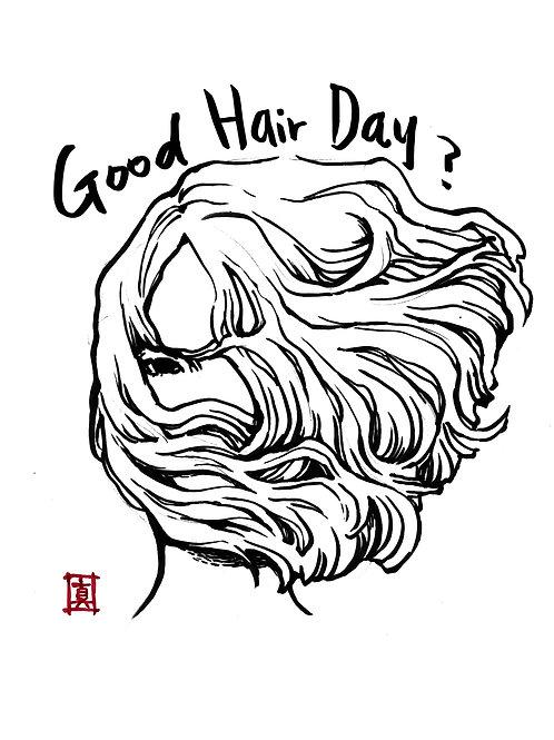 """A6 Postcard """"Good Hair Day?"""""""
