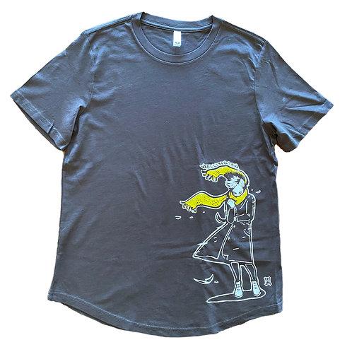"Women's ""Windy Welly Girl - Yellow Scarf"" Short Sleeve T-shirt (Coal)"