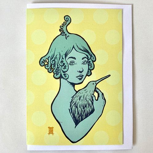 "Greeting Card ""Kiwi and the Fern Girl"""