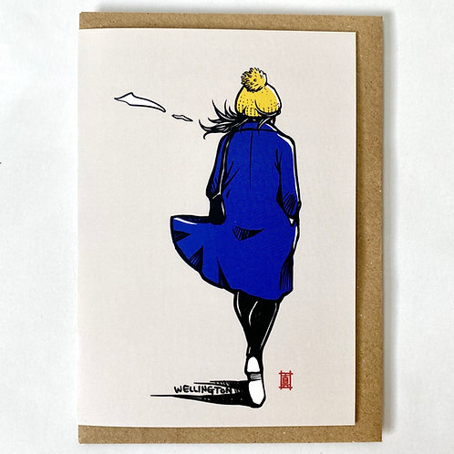 """Greeting Card """"Windy Welly Girl (Blue Coat)"""""""