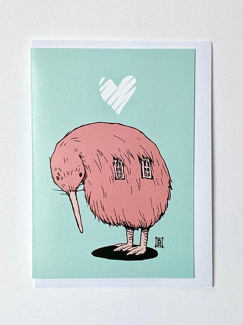 """Greeting Card """"Pink Kiwi"""""""