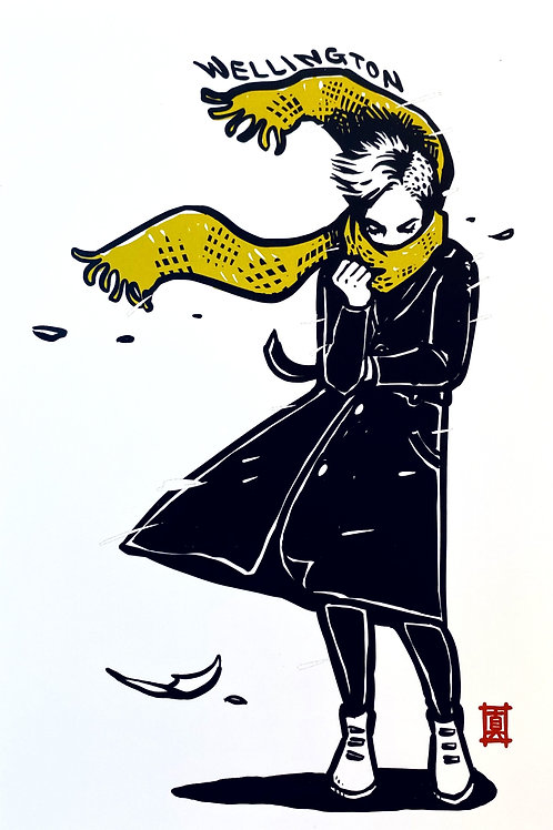 """A6 Postcard """"Windy Welly (Yellow Scarf)"""""""