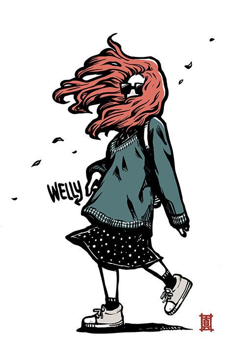 "A3 Print ""Windy Welly Girl - Autumn"""