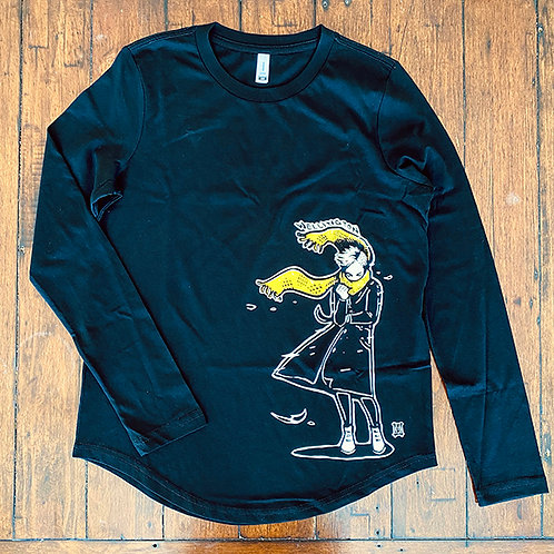 "Women's ""Windy Welly Girl - Yellow Scarf"" Long Sleeve T-shirt (Black)"