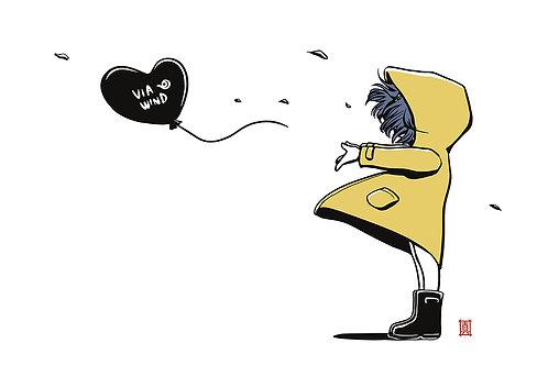 "A3 Print ""Windy Welly Girl - Balloon"""