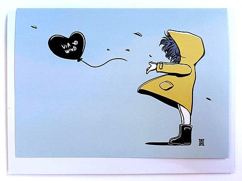 "Greeting Card ""Windy Welly Girl (Balloon)"""