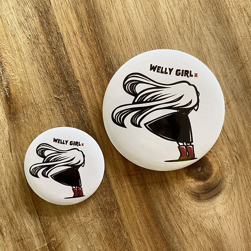 Windy Welly Girl Button Badge Set of 58mm (Large) & 38mm (Small)