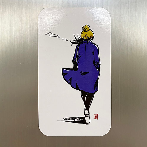Windy Welly Girl  (Blue Coat) Magnet Card