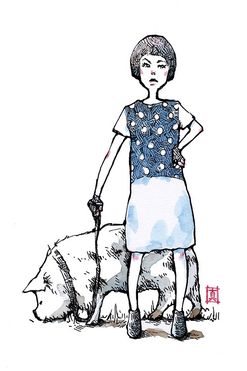"""A5 Print """"Girl and Pig"""""""