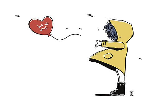 "A5 Illustration Card ""Windy Welly Girl (Balloon)"""