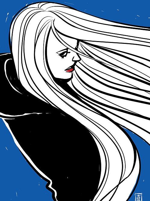 "A6 Postcard ""Windy Welly Girl - Blue-"""
