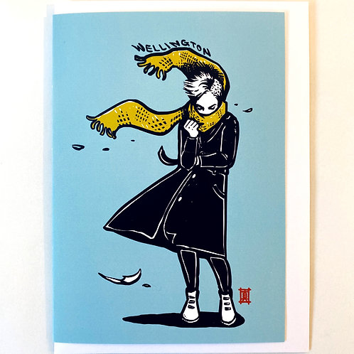 """Greeting Card """"Windy Welly Girl (Yellow Scarf)"""""""