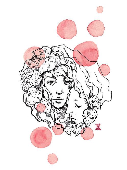 "A4 Print ""Kawakawa Girls Red"""