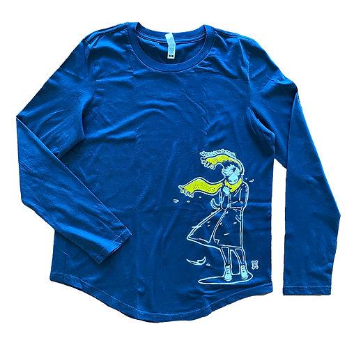 "Women's ""Windy Welly Girl - Yellow Scarf"" Long Sleeve T-shirt (Navy)"