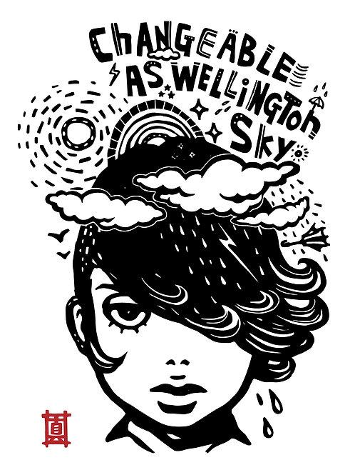 "A4 Print ""Changeable as Wellington Sky"""