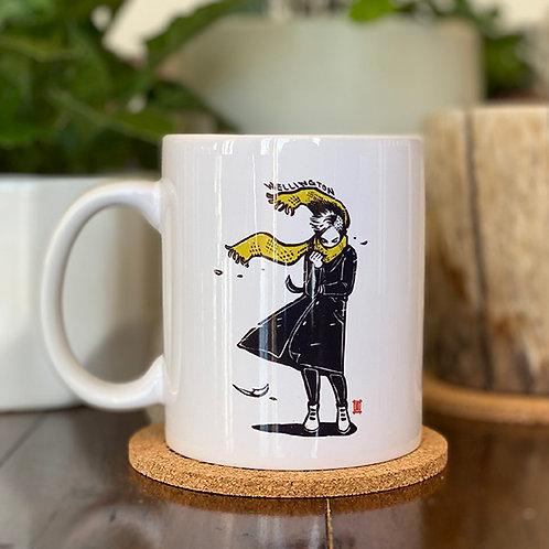 "Mug ""Windy Welly Girl -Yellow Scarf"""