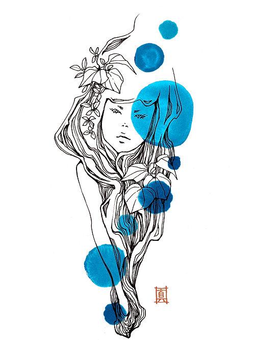 "A4 Print ""Kawakawa Girl Tuesday Blue"""