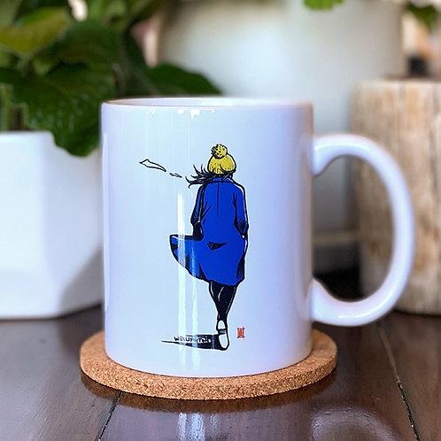 """Mug """"Windy Welly Girl -Blue Coat"""""""