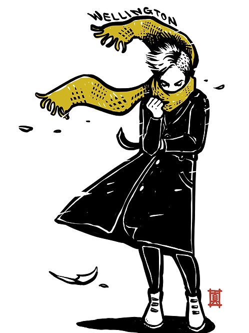 """A3 Print """"Windy Welly Girl - Yellow Scarf"""""""