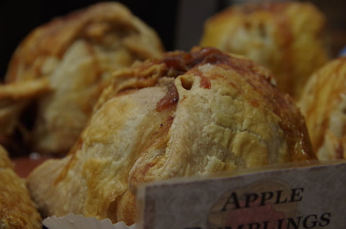 Orchard Fresh Apple Dumplings with whole baked apple, cinnamon, sugar, butter baked fresh for the holidays!