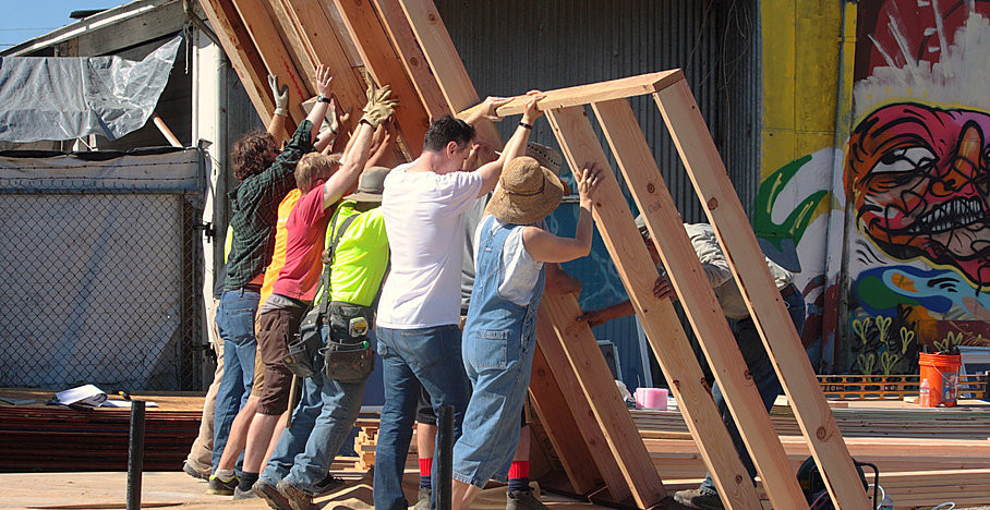 Building tiny houses in Eugene, Oregon takes a village too.