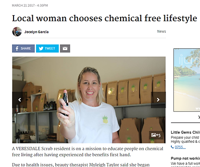 Beaudesert Times article Myleigh Taylor providing Chemical free lifestyle education and DIY solutions with The Clean Living Clinic