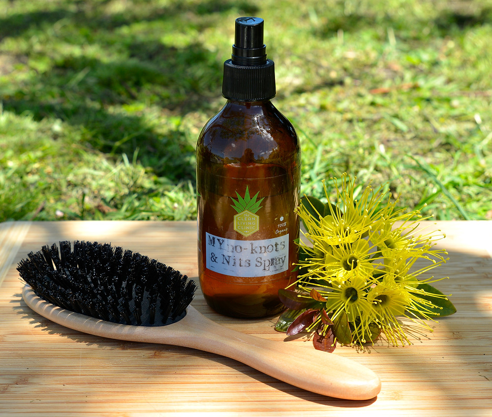 chemical free DIY hair detangler recipe with live deterant ingredients - The Clean Living Clinic DIY MYno Knots & Nits spray - Australia