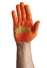Bright orange painted hand with the word CONNECT painted in lime green