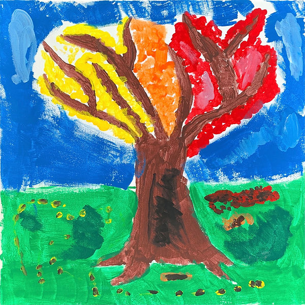 Painting of a tree with yellow, red, and orange leaves.