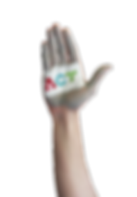 Grey painted hand that has ACT's white, red, blue, and green organization logo painted on it