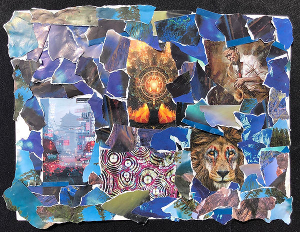 A collage of multiple different images. A lion and a man playing the saxaphone are identifiable.