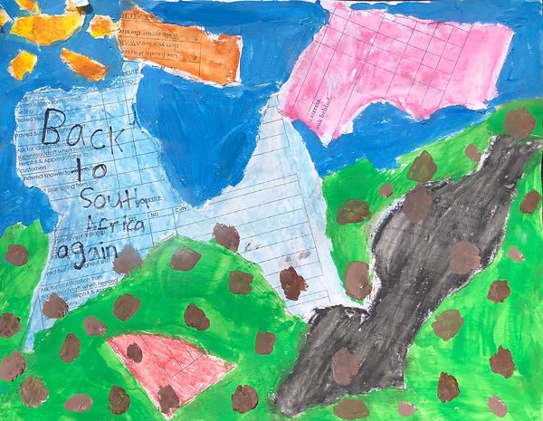 """Collage with identifiable pieces of paper from school. The words, """"Back to South Africa Again"""" are written a piece of paper."""