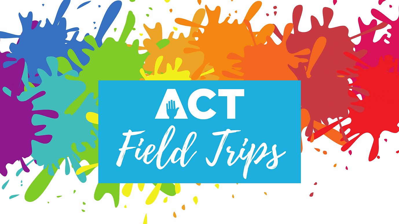 Color paint-splatter ACT Field Trips website graphic